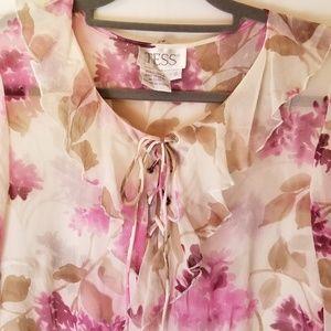 Vintage Sheer Tess Silk Floral Print Blouse